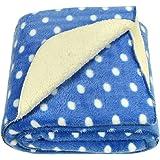 Brandonn Polka Wrapping Sheet Cum Baby Blanket for Babies (Royal Blue, 75cmx98cm)
