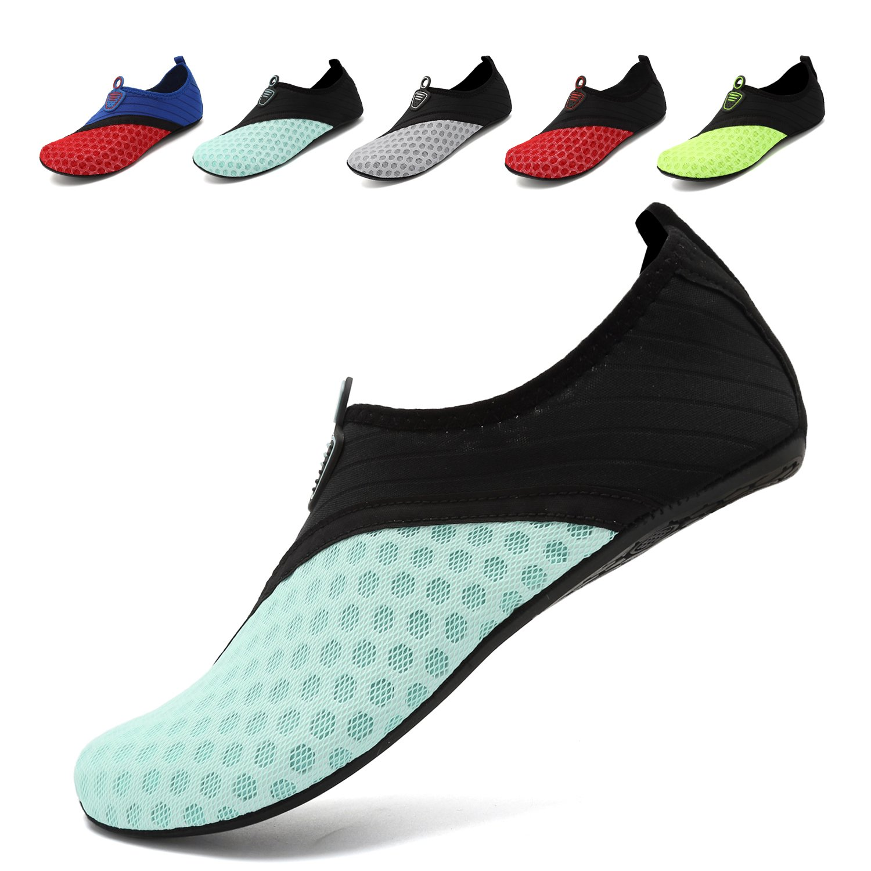 OUYAJI Unisex Water Shoes Barefoot Skin Shoes for Run Dive Surf Swim Beach Yoga Black/Blue-40/41