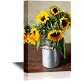 wall26 - Canvas Wall Art - Still Life Illustration with Sunflowers in Oil Painting Style - Gallery Wrap Modern Home Decor   Ready to Hang - 24x36 inches