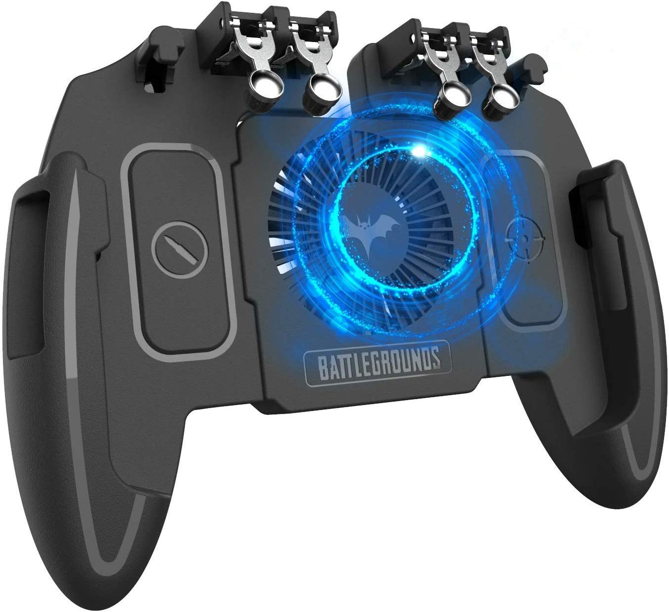 """Mobile Game Controller with Cooling Fan 4 Trigger for PUBG/Call of Duty/Fotnite [6 Finger Operation] L1R1 L2R2 Gaming Grip Gamepad Mobile Controller Trigger for 4.7-6.5"""" iOS Android Phone"""