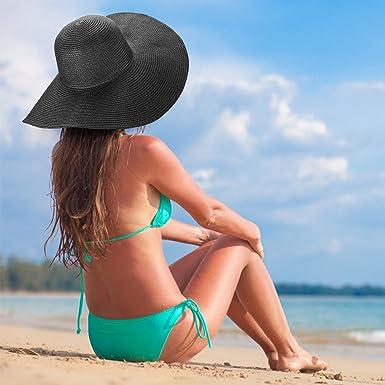 Dafunna Sombrero de Paja para Mujer de ala Ancha Pamelas ...