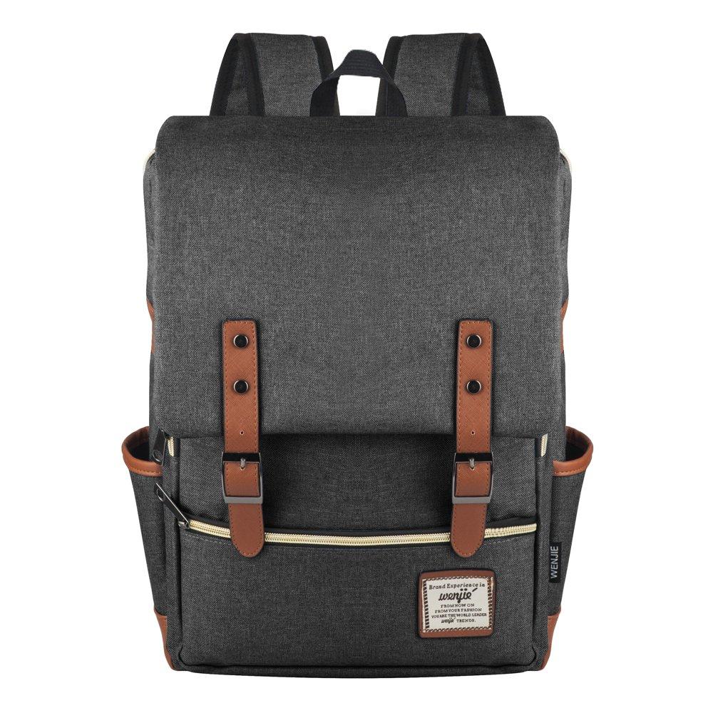 Canvas Backpack, P.KU.VDSL-WENJIE SERIES Vintage Canvas Laptop Backpack, British Style College School Backpack, Classic Student Weekend Bag, Casual Daypacks, Travel Rucksack, Bookbag for Boys & Girls
