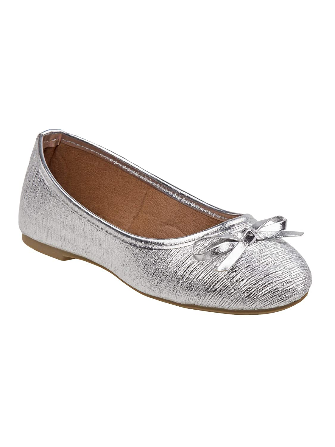 Rugged Bear Girls Silver Textured Finish Bow Accent Casual Flats 11-4 Kids