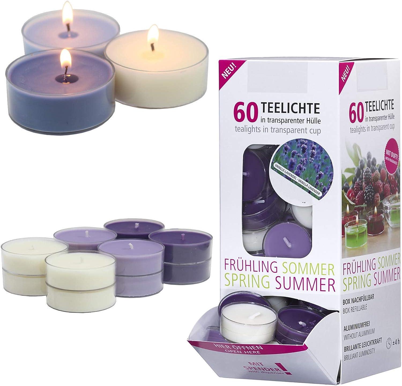 Set di 60 Candele profumate in Custodia Trasparente Lavanda Smart Planet/® Candele Ambiente lumini profumati in Dispenser fragranza: Vaniglia