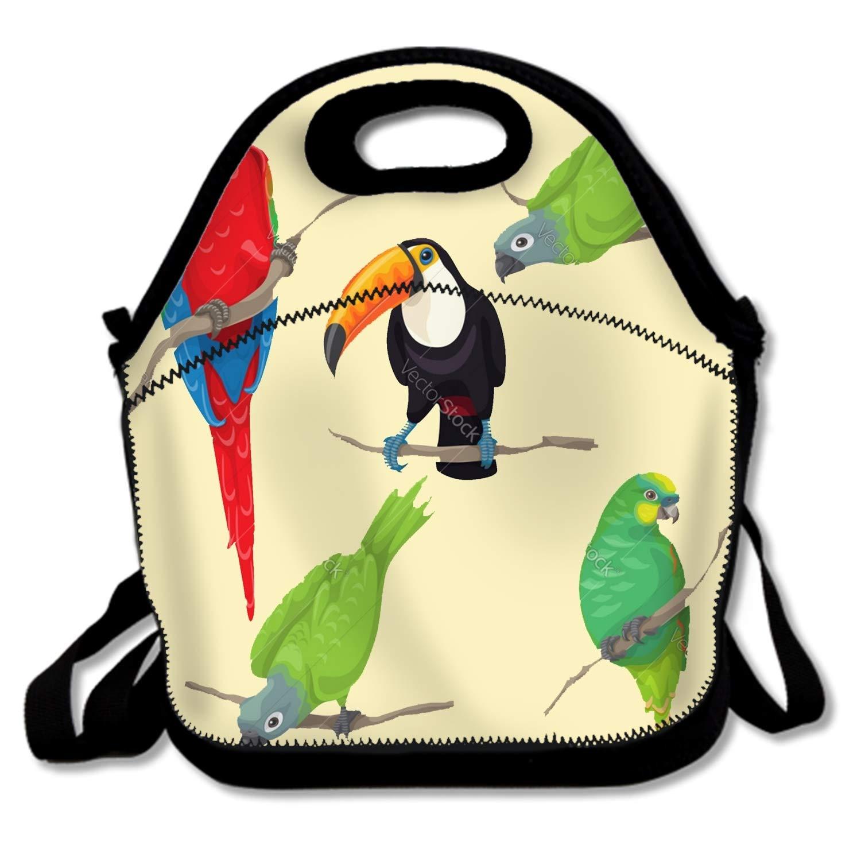 FONDTHEE 断熱防水ランチトート、学校、オフィス、ピクニックに持ち運び簡単、カラフルなペイントチューブ One Size  Tropical Birds3 B07M9TPYGG