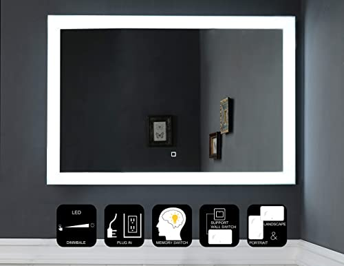 JOVOL Dimmable LED Lighted Bathroom Mirror Wall Mounted Vanity Mirror Dimmable Touch Switch 6500K High Lumen LED True Color CRI 90 Vertical Horizontal Installation Phoebe-4024 40×24 inch