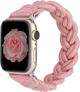 Wearlizer Compatible with Apple Watch Bands 42mm 44mm Slim Elastic Braided Women Loop Strap Wristband Stretchy Woven Replacement Bracelet Accessories for iWatch Series SE 6 5 4 3 2 1 (Pink, L)