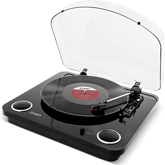ION Audio Max LP Black |Three Speed Vinyl Conversion Turntable with Stereo Speakers