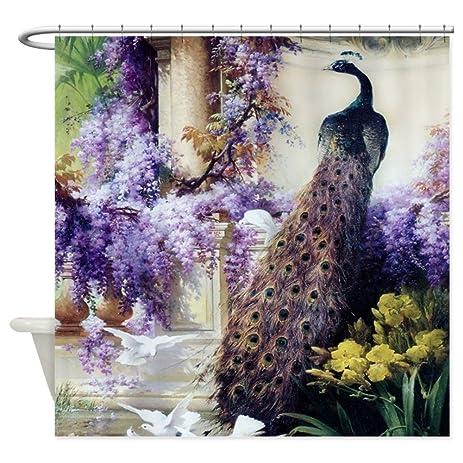 CafePress   Bidau Peacock, Doves, Wisteria   Decorative Fabric Shower  Curtain