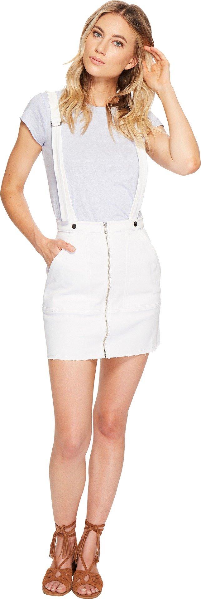 For Love and Lemons Women's Monika Overalls Mini Skirt White Denim Small