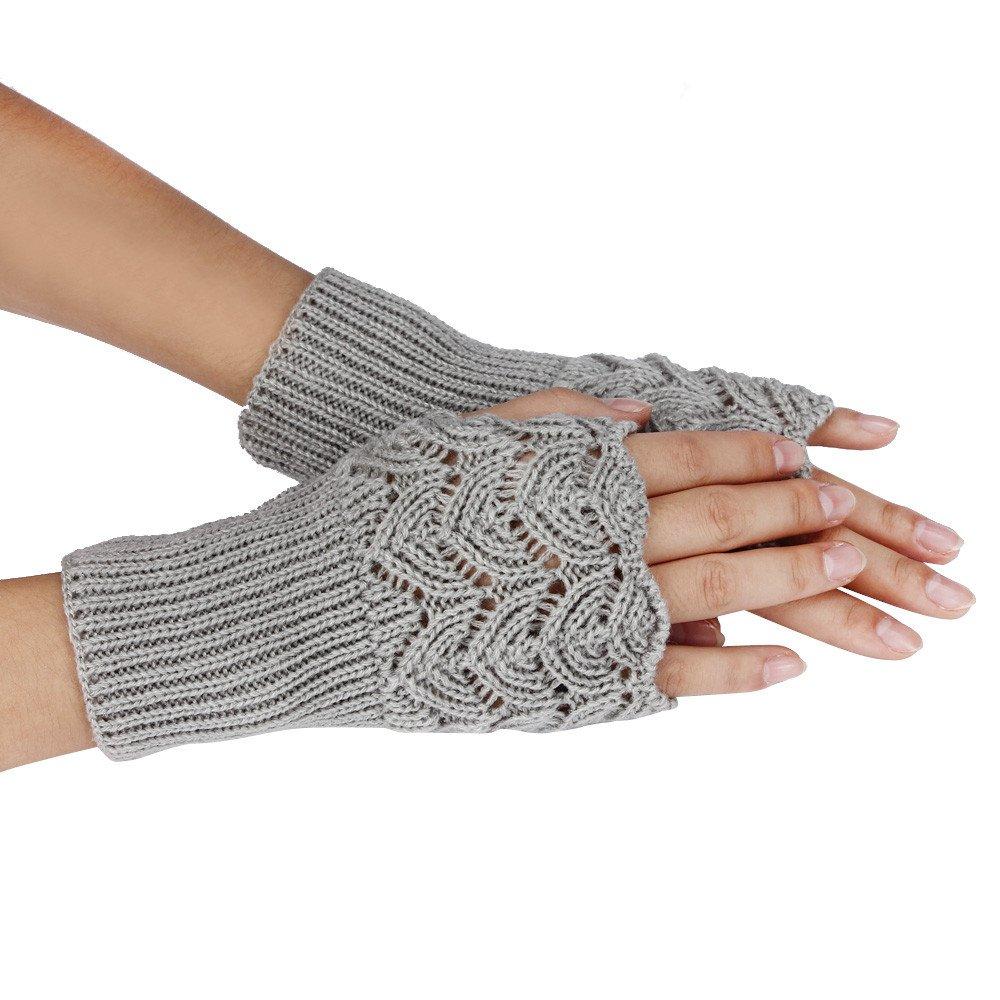 general3 Women's Warm Winter Gloves Half Fingerless Brief Paragraph Knitting Arm Warmers Mittens (Gray)