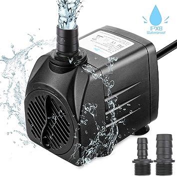 Zaeel Mini Bomba de Agua, Bomba de Agua Sumergible con 3 Boquillas 220-240V
