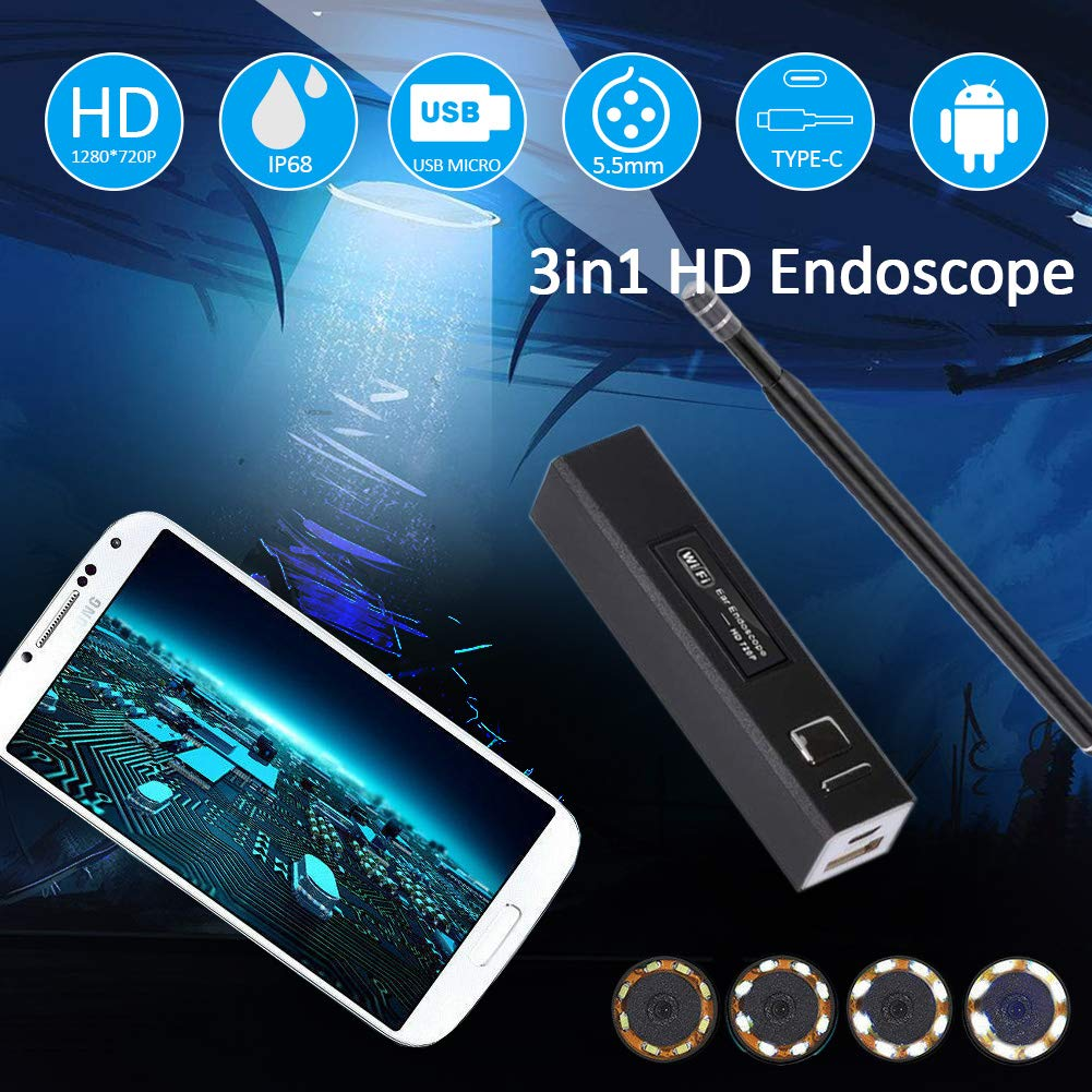 Android and Windows 6 Adjustable Led Lights for iPhone 3In 1 Otoscope iPhone//Android,USB Endoscope 5.5MM Diameter with 1.3MP HD Semi-Rigid IP67 Waterproof