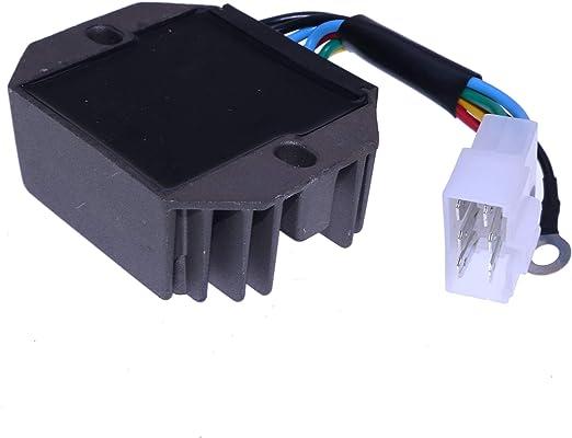Disen parts 15533-64600 H1550-64600 Voltage Regulator 12V 76611-55440 with 6 Pins For Kubota Tractor B5200 B6200 B7200 B8200 B9200 F2000 F2100 F2100E G-5500S KH-007H KH-36 KH-41 KH-51 KH-61