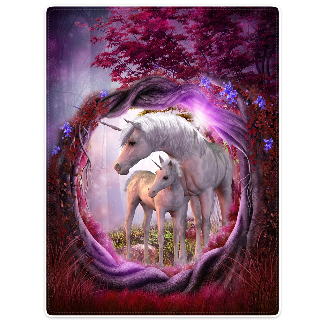 Blankets Fleece Blanket Throw for Sofa Bed Unicorn Horse Magical Animal Rose Red Tree 50'' x 80''