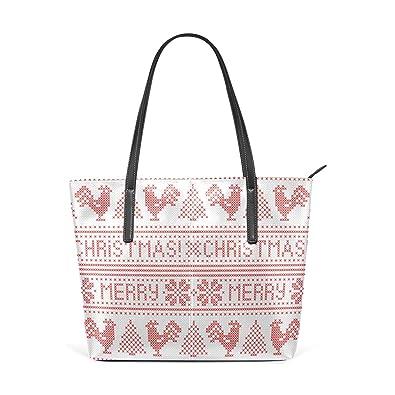 5135a740b9 Amazon.com  Christmas Moose Decor Women s Leather Tote Bags Shoulder ...