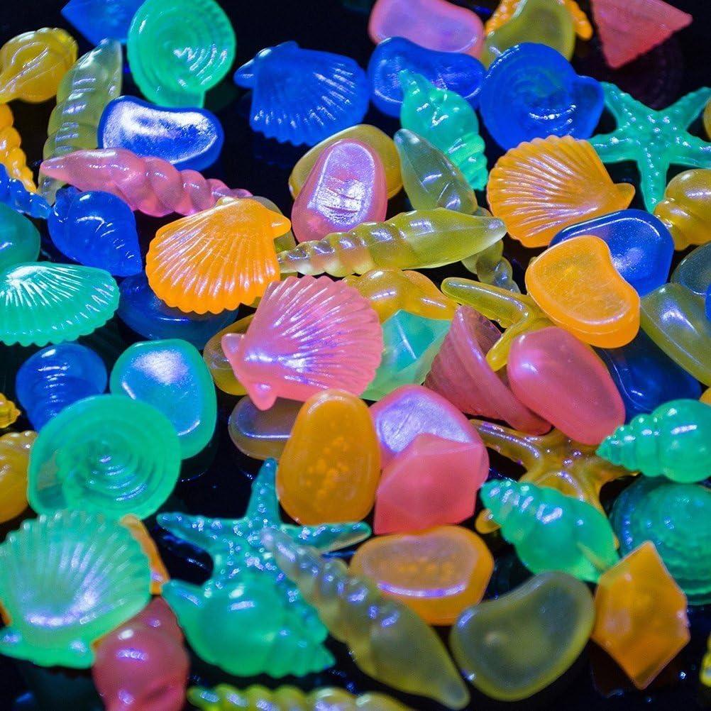 OUNONA - Piedras y conchas coloridas que brillan en la oscuridad para acuario y pecera, 60 unidades, colores variados