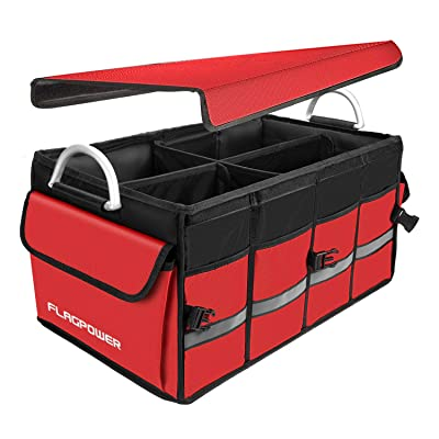 Upgraded Car Trunk Organizer with Cover, FLAGPOWER Cargo Organizer Heavy Duty Collapsible Car Trunk Storage Organizers with Foldable Lid Aluminium Alloy Handle Reflective Stripe Red: Home Improvement