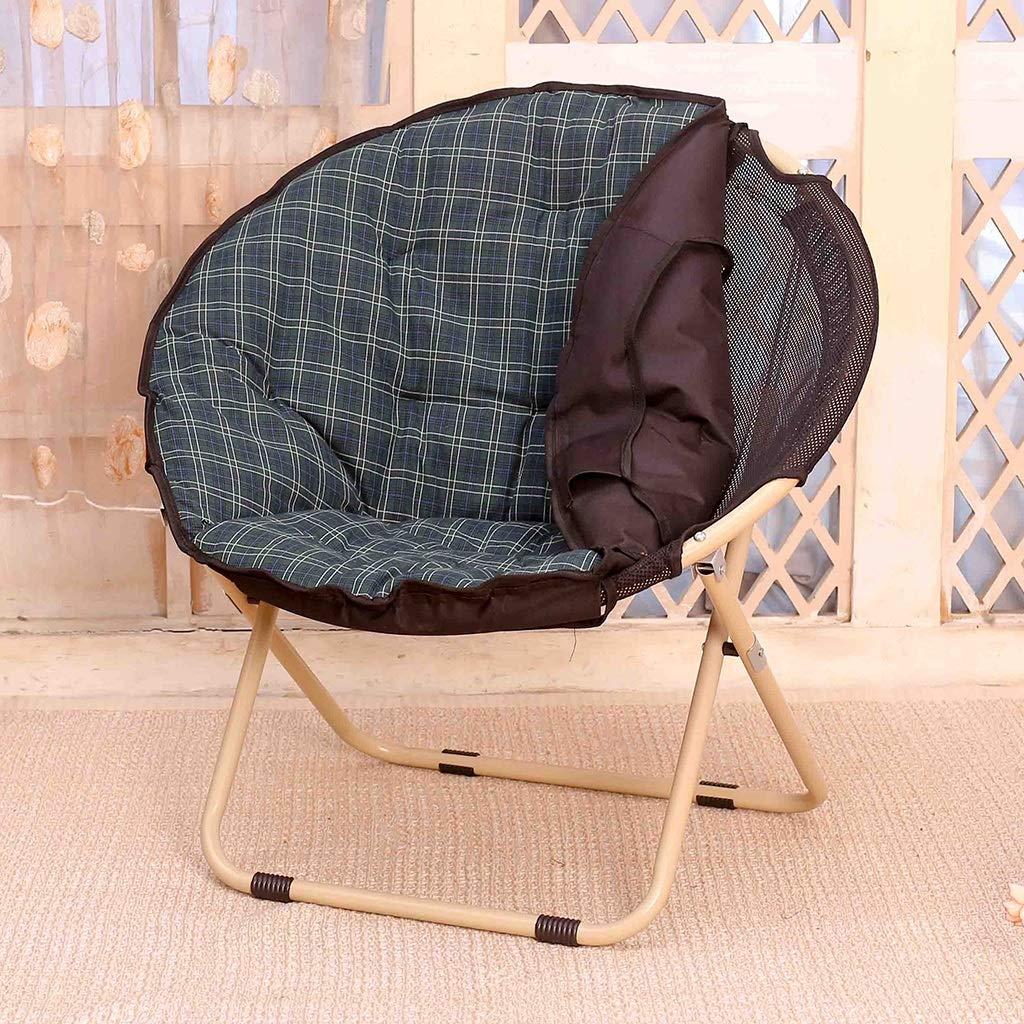 Zcxbhd Sling Chair Mond Falten Sonnenliege Faul Salon Rückenlehne Sofa zum Haushalt draussen Camping (Farbe   braun) DunkelGrün