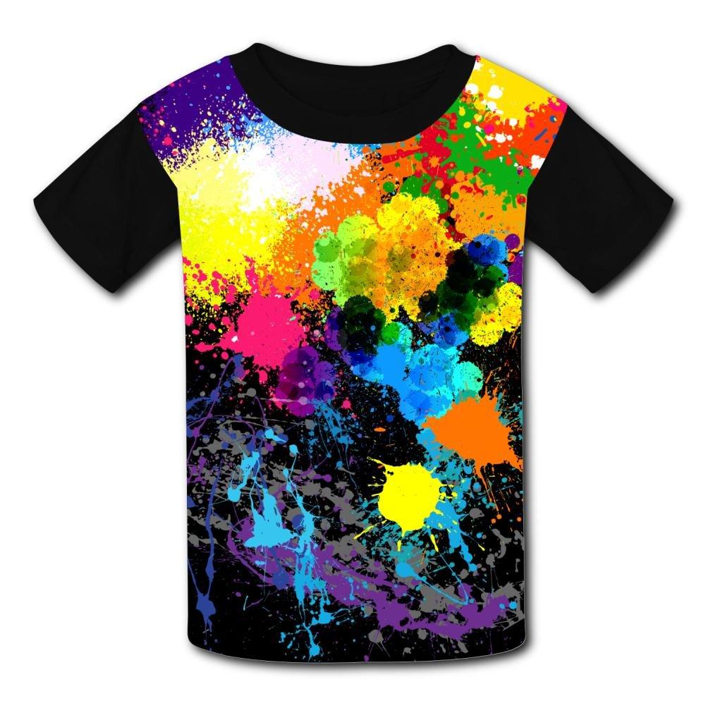 Kids//Youth Creative Paint Splashing Graphic T-Shirts Short Sleeve Children Tees
