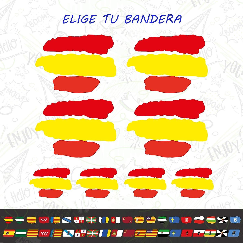 CUAC REVOLUTION 8 x Bandera ESPAÑA Vinilo Adhesivo Pegatina Sticker Coche Moto Casco: Amazon.es: Coche y moto
