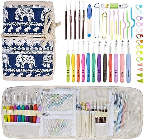 Kit de agujas de ganchillo portátil, 14 piezas de ganchillo juego de agujas de aluminio TPR para tejer, manualidades, herramientas de costura: Amazon.es: Hogar