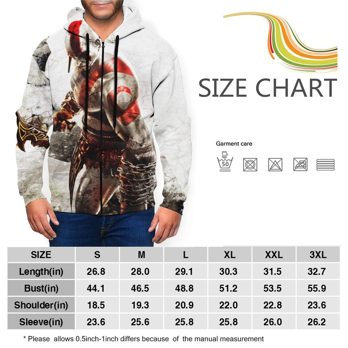 CTOP-3 Kratos War Mens Hoodie Sweatshirts Full Zip Hooded Pullover Personalized Sports Sweater with Pockets
