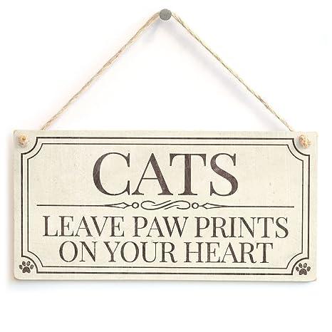 Gatos dejar huellas en tu corazón – estilo Shabby Chic accesorio casero regalo muestra/placa