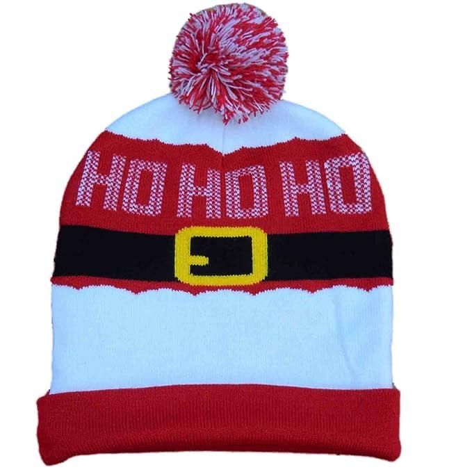 b63a56b5dbf Men s Christmas Santa Ho Ho Ho Red Beanie Stocking Cap Winter Hat   Amazon.in  Clothing   Accessories