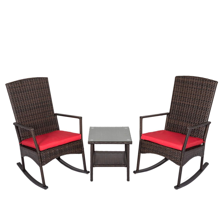 Peach Tree 3PCS Outdoor Rattan Rocker Chair Side Tea Table Set Garden Rocking Wicker Lounge w Removable Red Cushion