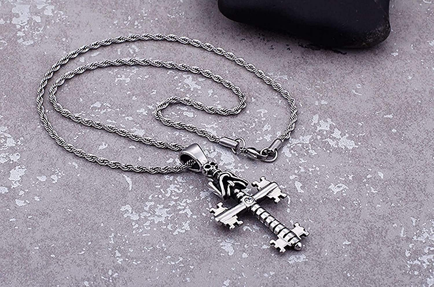 LOPEZ KENT Pendant Necklace for Men Stainless Steel Skull Gothic Cross Necklace Silver Necklace Vintage