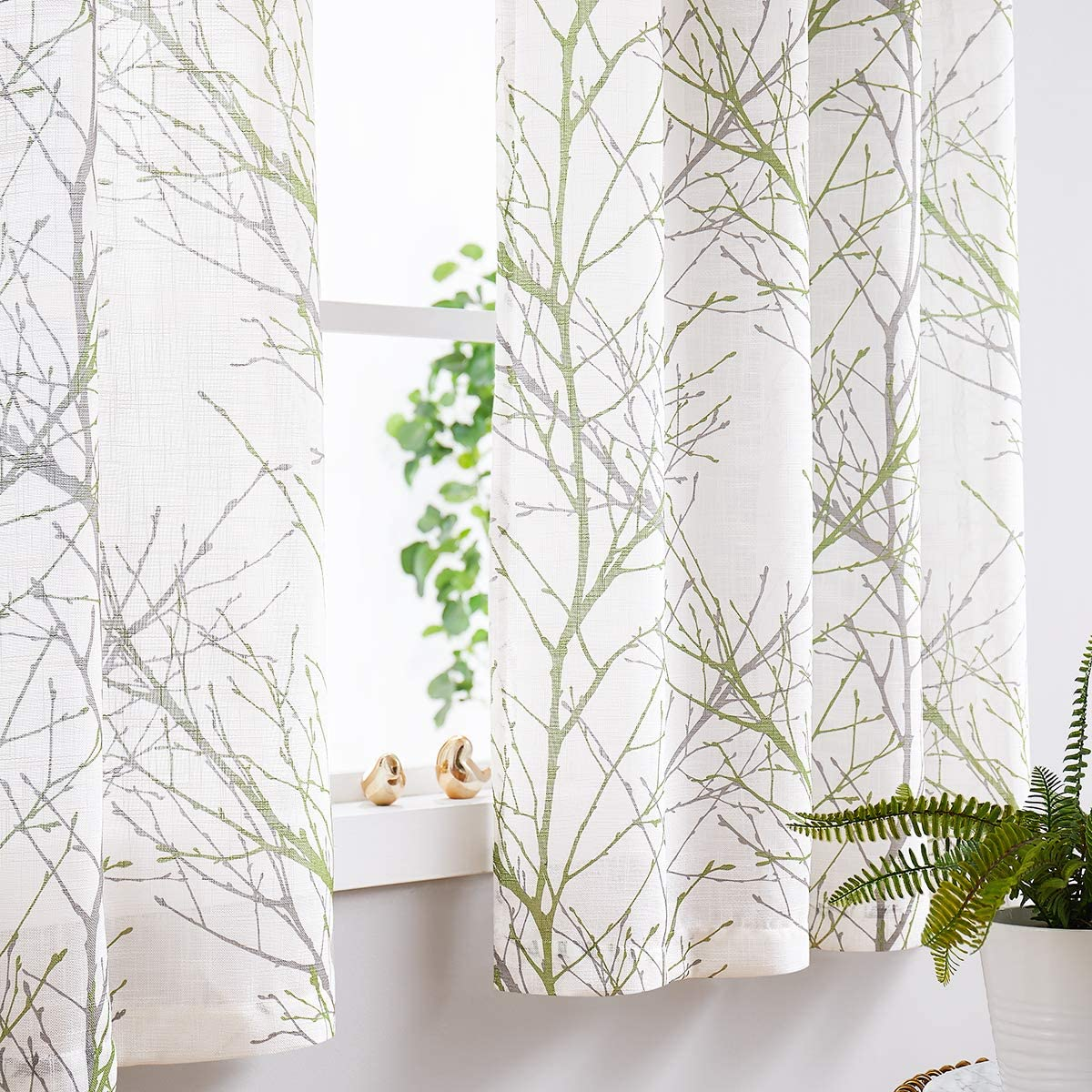 "Fmfunctex Print White Semi-Sheer Curtain Panels for Living Room 63"" Fresh Grey and Green Tree Branch Printing on Linen Textured Window Treatment Set for Bedroom Draperies 50""w 2-Pack"