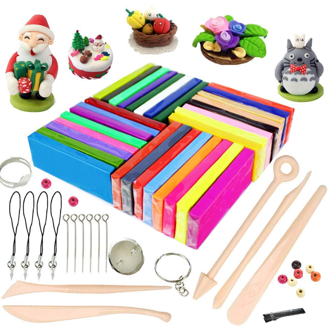 ifergoo Polymer Clay, 32 Blocks Colored Oven Bake Modelling Clay, DIY Colored Clay Kit with Modeling Tools, Tutorials and Accessories, 1.73lb