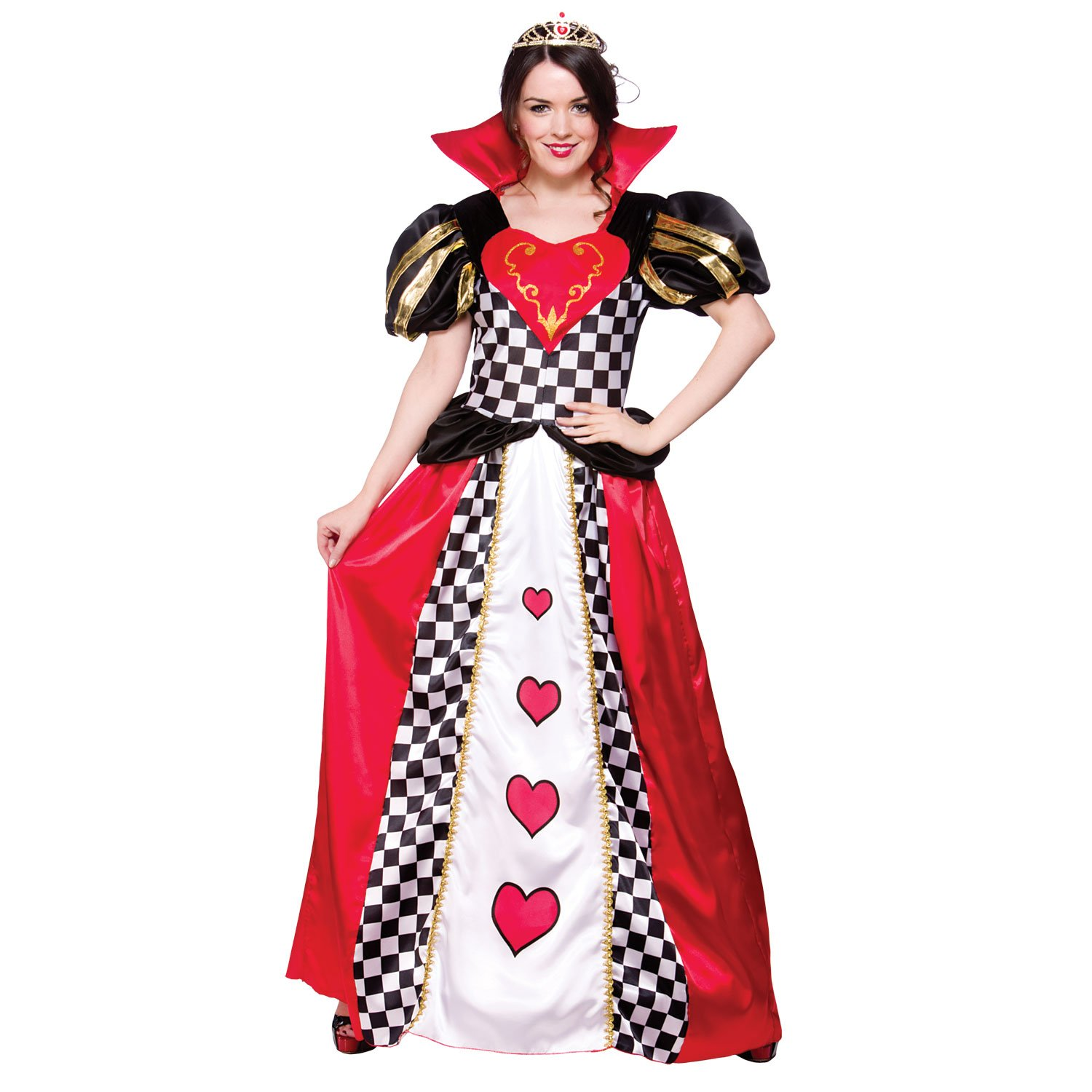 (S) Ladies Queen of Hearts Costume for Royal Fancy Dress Womens Wicked Wicked
