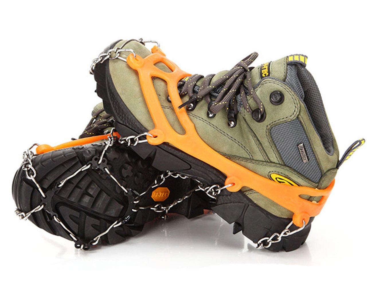 Glace Crampons Crampons Pointes, Acier inoxydable et les Pics en silicone ré sistant Walk é quipements de traction, Bottes Trail Crampons Traction appareil Chaussures bandages pour la randonné e sur glace et neige Sol, Montagne orange