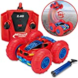 Stunt Car Remote Control Car – J-DEAL Double-Sided 4WD RC Car with Control, 360 Flip Spinning, Cool Antics & Tricks, Rechargeable, Mini Off Road Vehicle, Children Sport Racing Car, Kids Electric Toy