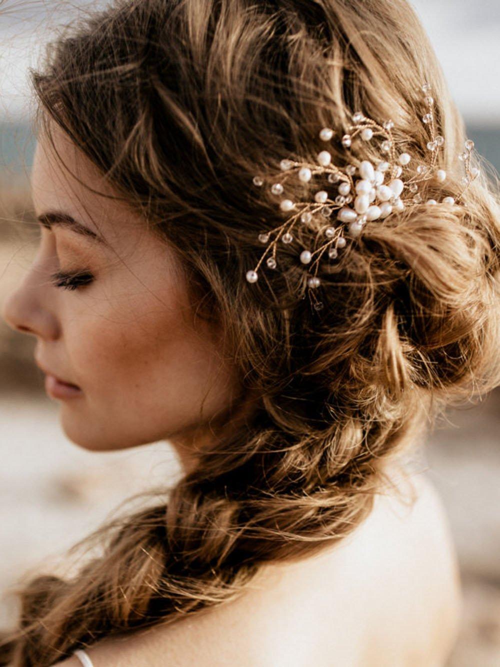 Fxmimior Mariage vintage Fleur de Cristal Cheveux Peigne usure de la tête Ornements de cheveux femme fille