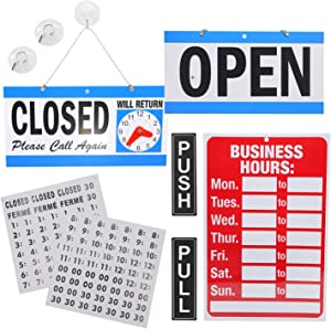 DGQ Business Hour Open Closed Sign & Push Pull Door Signs – Bundle of Office Hours Sign Will Return Clock with Suction Cups for Door Window Businesses Stores Restaurants Bars Salon Shops