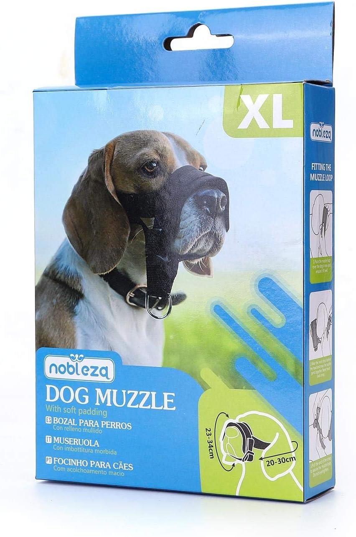 Nobleza BMuseruole per Cani,Anti-Bite,Anti-Chew Museruola Cane Regolabile in Nylon Ajustable para Perro C/ómodos con Anello Regolabile Nero L 16-28cm