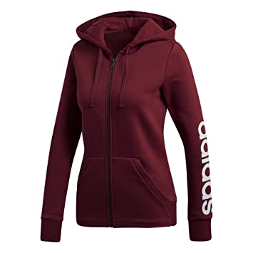 2438db9c3 adidas Essentials Linear Full Zip Fleece Hooded Jacket Women's, Womens,  CZ5721, Noble Maroon