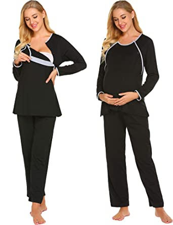 cd2504e0532c6 Ekouaer Womens 2 in 1 Nurisng Pajamas/pjs Cotton Striped Maternity Nursing  Sleepwear Sets,
