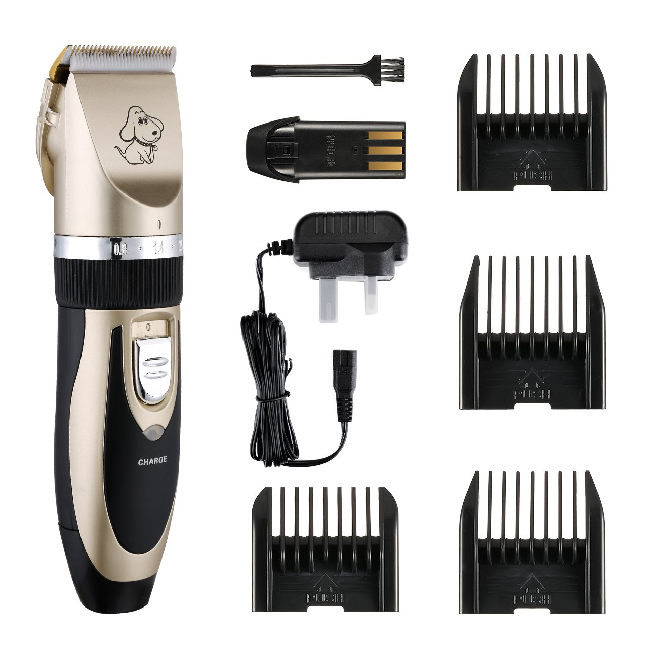 Pet Grooming Clippers TOPOP Lithium Battery Rechargeable Dog Clippers 4 Comb Guides Pet Clippers Cordless Pet Hair Shaver Low Noise Electric Clippers Grooming Trimmer Kit Set Low Vibration Cat Clippers with Cleaning Brush for Pet Dogs and Cats - Gold +Bla