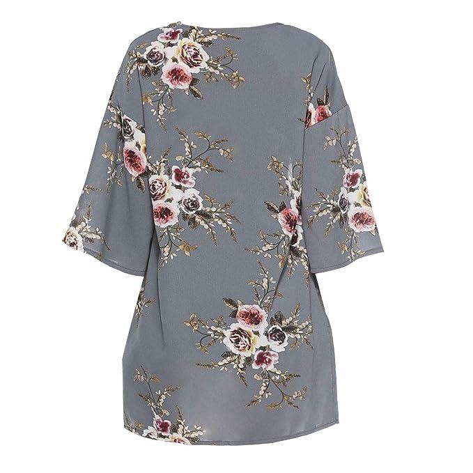 c2269452d51a08 Digitek Direct Women Chiffon Loose Shawl - Chiffon Floral Print Kimono  Cardigan Cover Up Boho Summer Casual Blouse Beach Swimwear  Amazon.co.uk   Clothing
