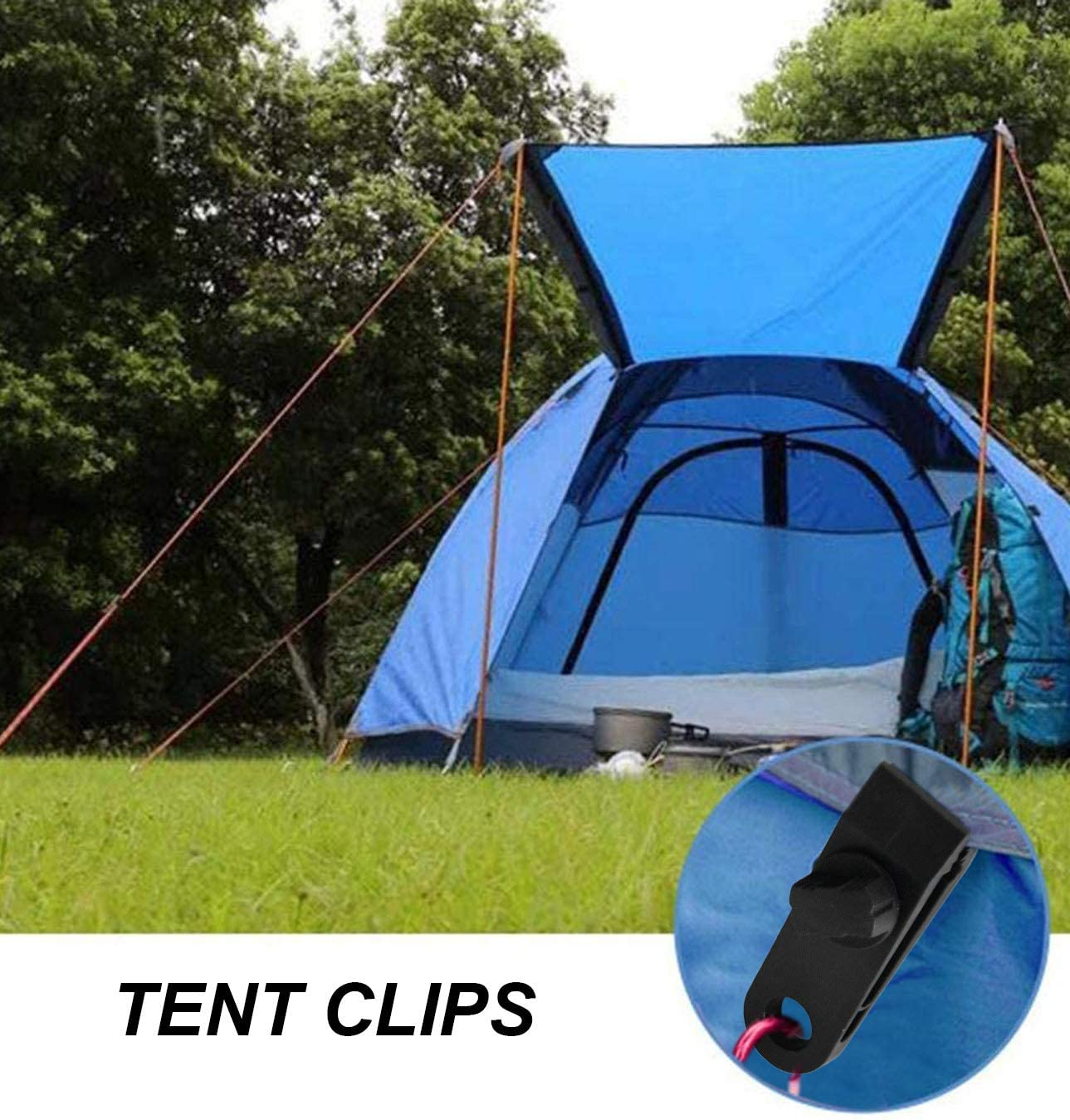 """HOME-X Tarpaulin Clips Set of 12-3/"""" L x 1/"""" W x 1/"""" H Heavy-Duty Locking Clamps for Camping"""