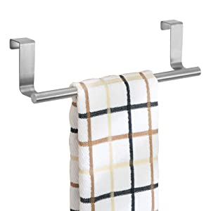 "InterDesign Forma Metal Over The Cabinet Bar, Hand Towel and Washcloth Rack for Bathroom and Kitchen, 9.25"" x 2.5"" x 2.5"", Stainless Steel"