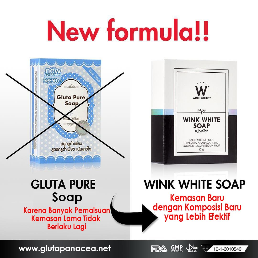 5x70G.Gluta Pure Soap wink white Whitening Soap Lightening Skin Face Lightener by Wink White