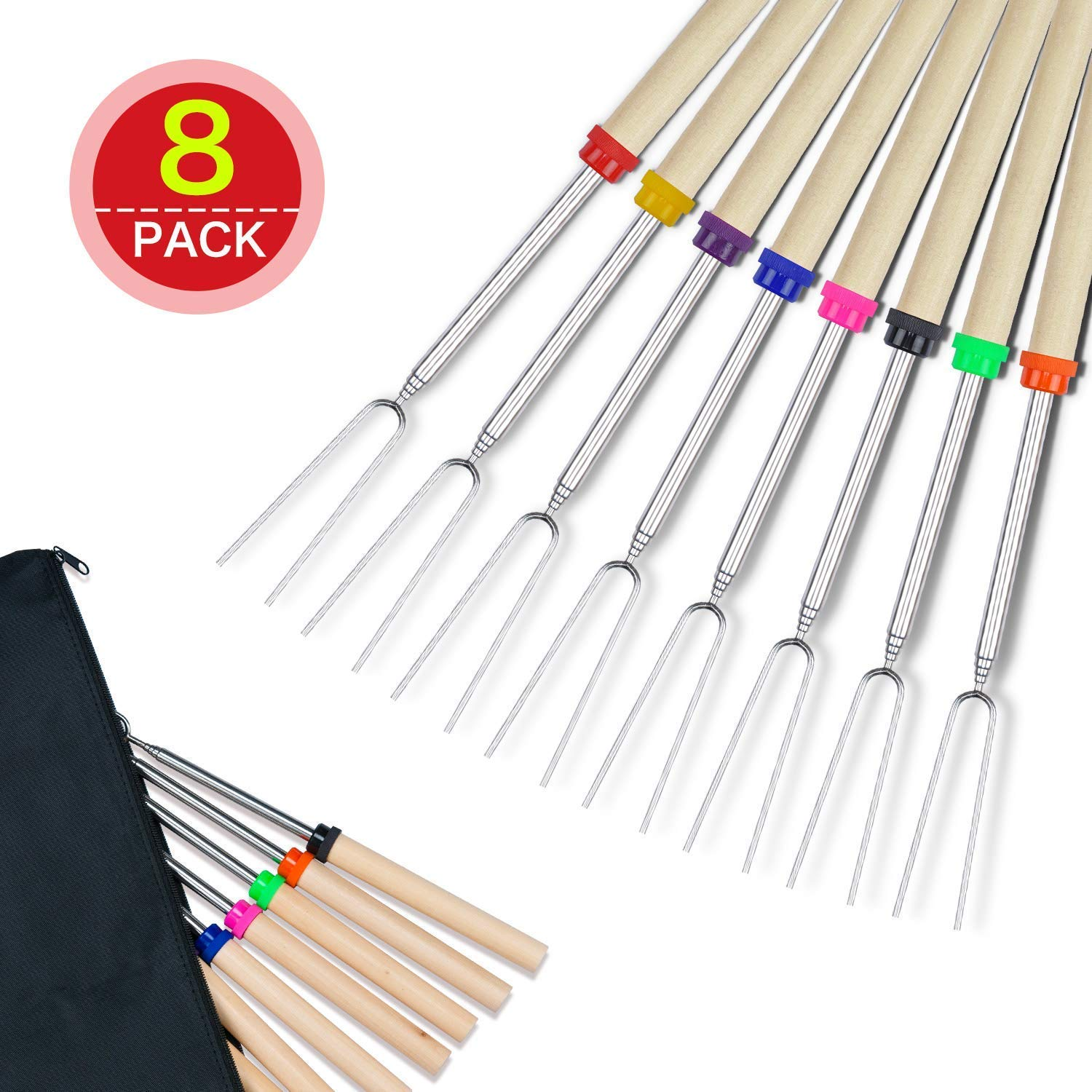 8-Piece Lysport BBQ Marshmallow Roasting Stick Set of 8 Telescoping Extendable Rotating Smores Skewers /& Hot Dog Fork 32-Inch Kids Camping Campfire Fire Pit Accessories
