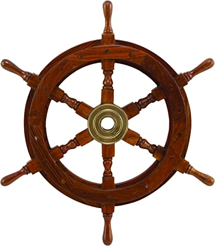 Deco SH8762 Wood Brass Ship Polystone Wheel,, 18-Inch