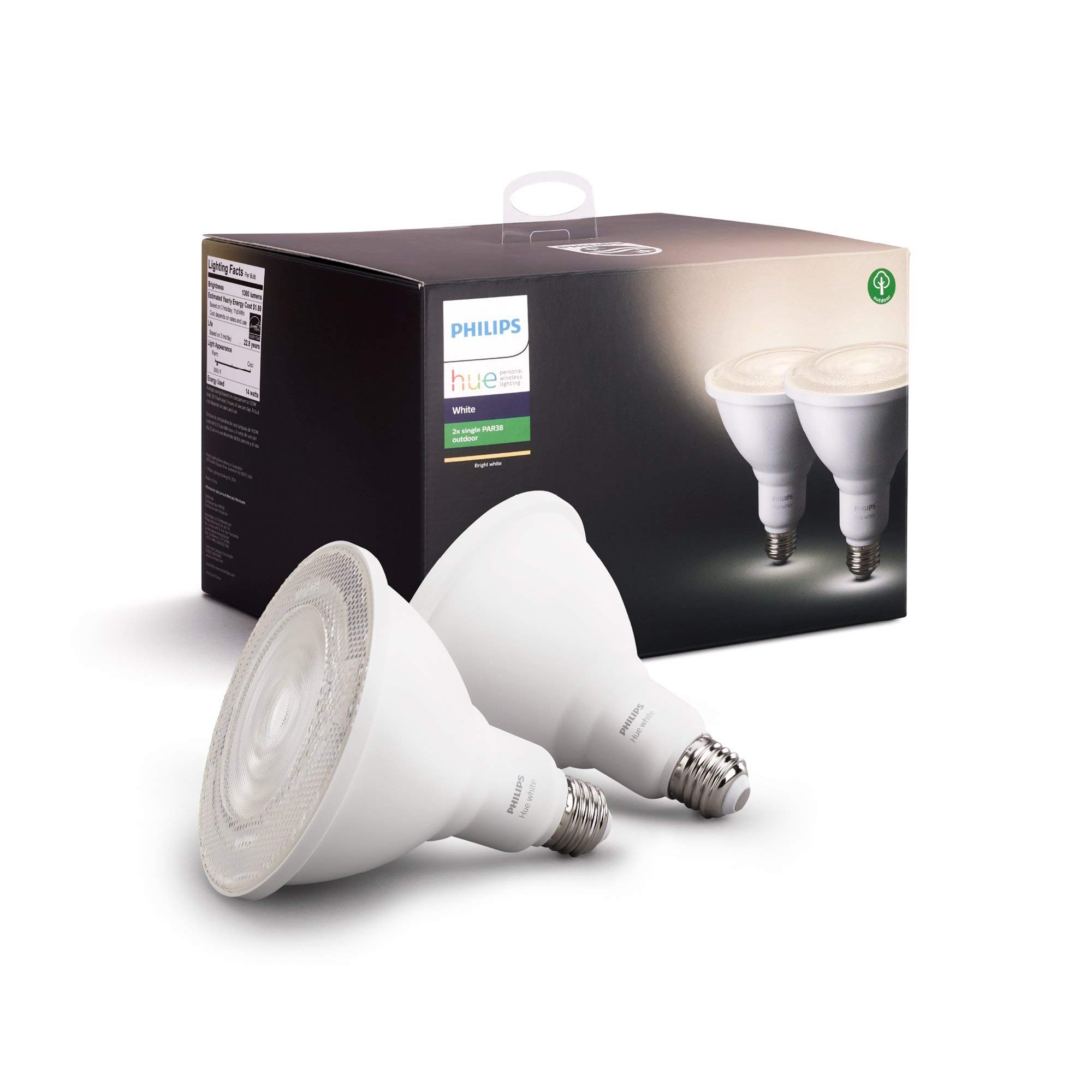Philips Hue White Outdoor PAR38 13W Smart Bulbs (Philips Hue Hub required), 2 White PAR38 LED Smart Bulbs, Works with Alexa, Apple HomeKit and Google Assistant (Renewed)