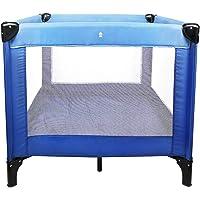 Todeco - Lit Pliable de Voyage, Parc pour Enfants - Charge maximale: 25 kg - Accessoires: (1x) Sac de transport - Standard CE, 93 x 93 x 76 cm, Bleu ciel/Bleu marine